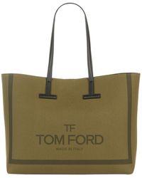 Tom Ford Large Canvas Tara Tote Bag - Green