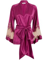 Carine Gilson Silk Lace-trim Kimono Robe - Purple