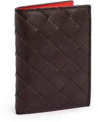 Bottega Veneta - Leather Intrecciato Card Holder - Lyst