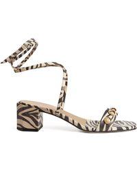 Claudie Pierlot Leather Zebra Print Sandals 55 - Multicolor