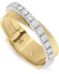 Marco Bicego - Yellow Gold And Diamond Two Row Masai Ring - Lyst