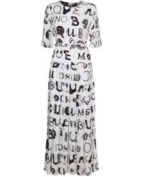 Boutique Moschino - Long Pleated Dress - Lyst