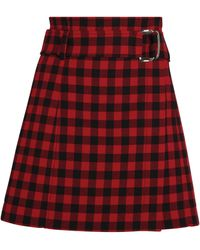 MAX&Co. Gingham Mini Skirt - Red
