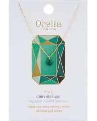 Orelia - May Birthstone Necklace - Lyst