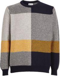 Johnstons of Elgin Cashmere Patterned Sweatshirt - Blue