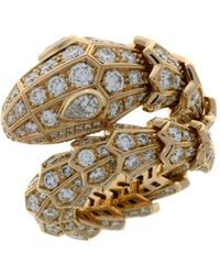 BVLGARI Rose Gold And Diamonds Serpenti Ring - Metallic
