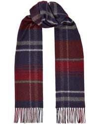Harrods Checked Cashmere Scarf - Red