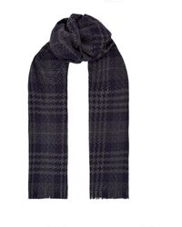 Harrods Houndstooth Check Cashmere Scarf - Blue