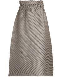Issey Miyake Pleated Midi Skirt - Metallic