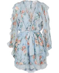 Zimmermann - Bowie Frill Playsuit - Lyst