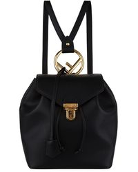 Fendi Leather Logo Backpack - Black