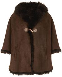 James Purdey & Sons - Shearling Cape, Brown, One Size - Lyst