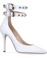 Alessandra Rich Leather Double Buckle Pumps 100 - White