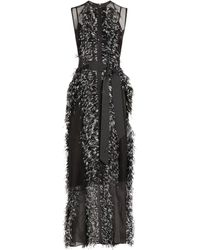 Huishan Zhang Beau Feather-trim Gown - Black