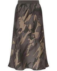 ATM Silk Camouflage Midi Skirt - Green