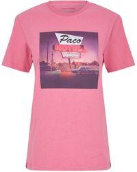Paco Rabanne T-shirts Rose Print Motel - Pink