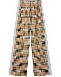 Burberry Vintage Check Wide-leg Pants - Natural