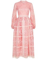 Costarellos - Lace Bishop Sleeve Midi Dress - Lyst
