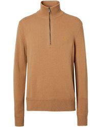 Burberry Cashmere Funnel-neck Half-zip Jumper - Brown