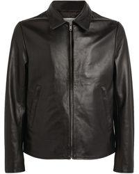 Sandro Leather Zipped Jacket - Black