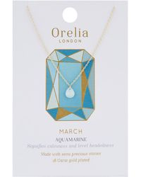 Orelia - March Birthstone Necklace - Lyst