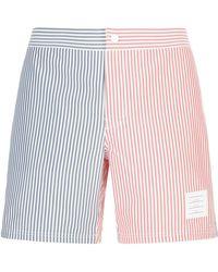 Thom Browne - Striped Herringbone Swim Shorts - Lyst