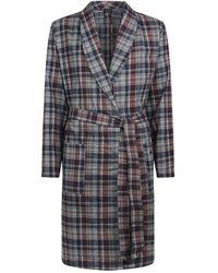 Hanro Cotton Check Robe - Gray
