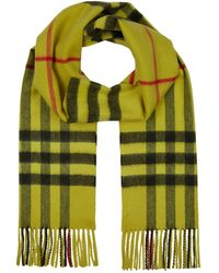 Burberry - Overdyed Giant Check Cashmere Scarf - Lyst
