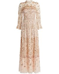 Needle & Thread Patchwork Sequin-embellished Gown - Pink