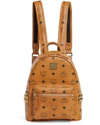 MCM Mini Studded Stark Backpack - Brown