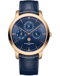 Vacheron Constantin Rose Gold Patrimony Perpetual Calendar Ultra-thin Watch 41mm - Blue