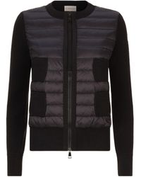Moncler Quilted Panel Zip-up Cardigan - Black