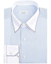 Zilli Striped Shirt, White, Eu 43 - Blue