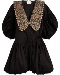 Kika Vargas Printed-collar Mini Dress - Black