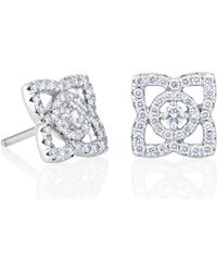 De Beers - White Gold Enchanted Lotus Stud Earrings - Lyst