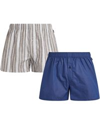 Hanro Fancy Woven Boxers (pack Of 2) - Blue