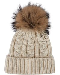 Harrods Cable Knit Bobble Hat - Natural