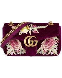 89f550039d12 Gucci Gg Marmont 2.0 Crystal Embellished Velvet Crossbody Bag - in ...