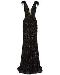 Jovani Feather-trim Sequin Gown - Black