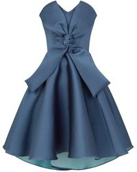 Alexis Mabille Strapless Bow Front Dress - Blue