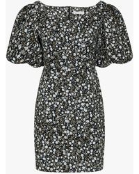 Shona Joy Floral Parker Midi Dress - Black