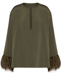 Valentino Feather-trim Top - Green