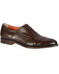 Santoni Croc Oxford Shoe - Brown