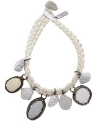 Weekend by Maxmara Leather Stone Charm Necklace - White
