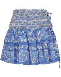 LoveShackFancy - Mira Smock Mini Skirt - Lyst