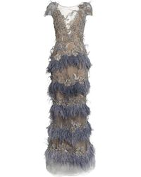 Marchesa Feather-trim Embellished Gown - Blue