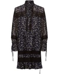 R/R Studio - Lace-panelled Floral Silk Dress - Lyst