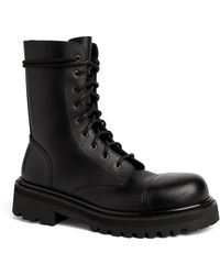 Vetements Leather Military Boots - Black