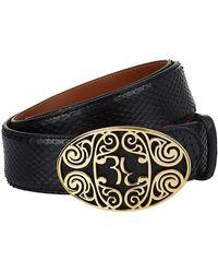Billionaire Filigree Buckle Python Belt - Black