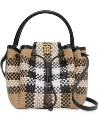 Burberry Leather Woven Check Tb Bucket Bag - Natural
